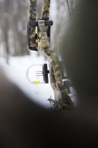 bow hunting in the snow